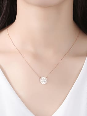 925 Sterling Silver With Glossy Simplistic Monogram Round Necklaces