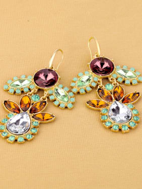Gold Plated Flower Drop hook earring