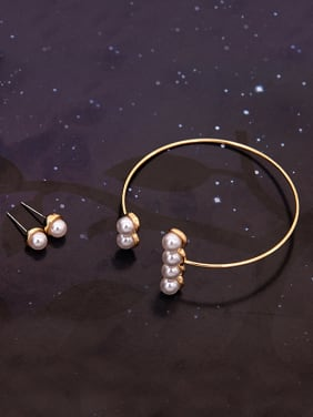 Alloy Imitation-gold Plated Fashion Artificial Pearls Three Pieces Jewelry Set