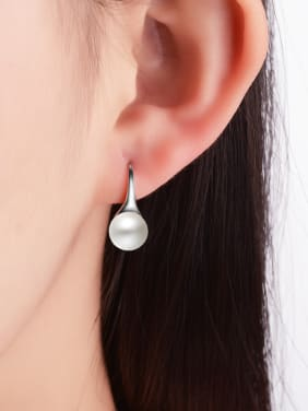 Fashion White Imitation Pearl Copper Earrings
