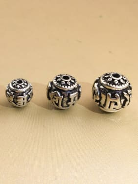 925 Sterling Silver With Antique Silver Plated Classic Round Anniversary Beads
