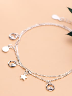 925 Sterling Silver With Platinum Plated Simplistic Star Bracelets