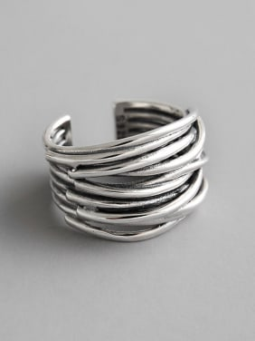 925 Sterling Silver With Antique Silver Plated Vintage Multi-layer line free size Rings