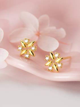 925 Sterling Silver With Gold Plated Cute Flower Stud Earrings