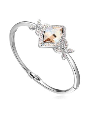 Fashion Rhombus Tiny Cubic Swarovski Crystals Alloy Bangle
