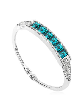 Simple Square Swarovski Crystals-accented Alloy Bangle