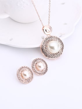 Alloy Rose Gold Plated Fashion Artificial Pearl Round Two Pieces Jewelry Set
