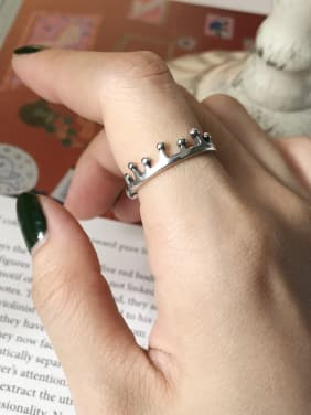 Sterling Silver personality crown free size ring
