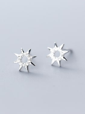 925 Sterling Silver With White Gold Plated Simplistic Hollow Star Stud Earrings