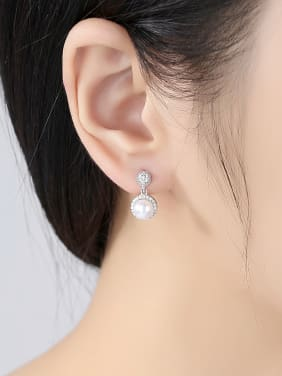 Sterling Silver Natural Freshwater Jane with 3A Zircon Earrings