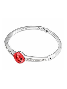 Simple Oval Swarovski Crystal Platinum Plated Alloy Bangle