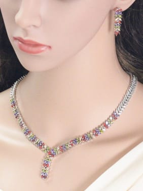 Colorful Leaves-shape Zircon Jewelry Set