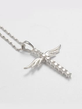 Creative Cross Wings Zircon Necklace