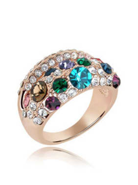 Fashion Exaggerated Cubic Swarovski Crystals Alloy Ring