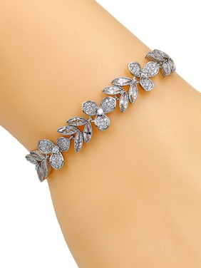 Copper With Platinum Plated Delicate Flower  Leaf Adjustable Bracelets