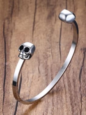 Open Design Double Skull Titanium Bangle