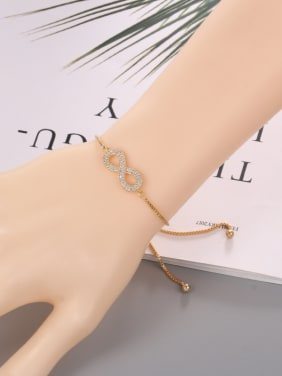 Copper With  Cubic Zirconia Simplistic Insect  8   Adjustable Bracelets