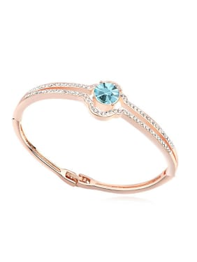 Fashion Cubic Swarovski Crystals Rose Gold Plated Alloy Bangle