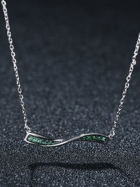 925 Sterling Silver With Platinum Plated Simplistic One Word Wave Necklaces