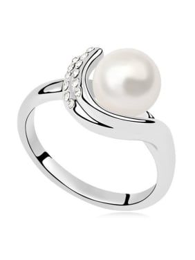 Simple Imitation Pearl Tiny Crystals Alloy Ring