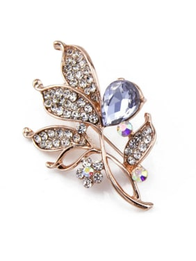 Leaf-shaped Rose Gold Brooch