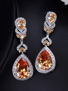 Color Zircons Water Drop Cluster earring