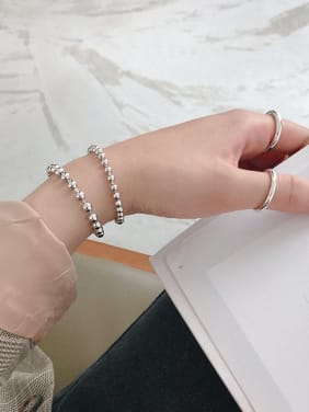 925 Sterling Silver With Silver Plated Simplistic Charm Transfer beads Bracelets