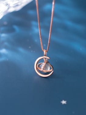 925 Sterling Silver With Rose Gold Plated Simplistic Planet Necklaces