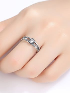 Thai Silver With Cubic Zirconia Vintage Round Free Size Rings
