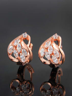 Exquisite Rose Gold Plated Geometric Shaped Zircon Clip Earrings