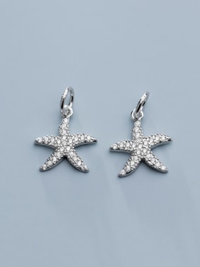 925 Sterling Silver With Cubic Zirconia  Fashion Sea Star  Pendants