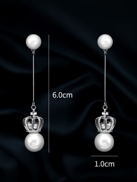 Copper With  Artificial Pearl  Simplistic Crown Threader Earrings