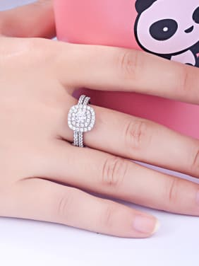 925 Sterling Silver With  Cubic Zirconia Delicate Square Stacking Rings