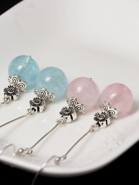 Temperament Transparent Crystal Hook Earrings