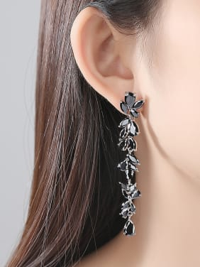 Copper With White Gold Plated Fashion Leaf Party Drop Earrings