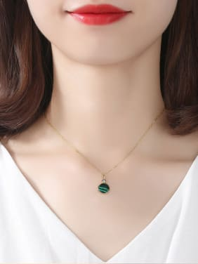 Sterling Silver Plated 18K-gold Round Malachite Necklace