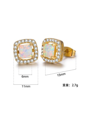 White-Opal plated 18K-gold ear stud earrings 6MM