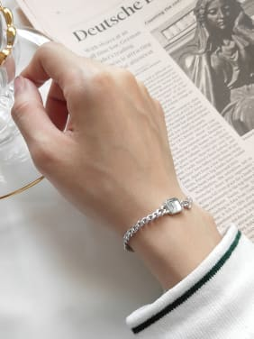 Pure silver square imitation crystal Chain Design Bracelet
