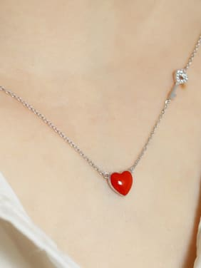 925 Sterling Silver With Resin Simplistic Heart Locket Necklace