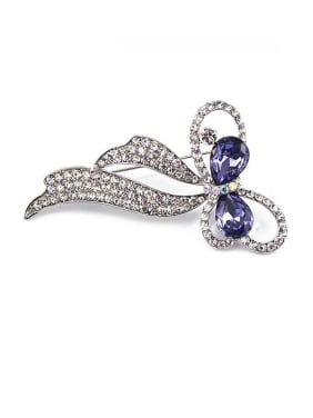 Platinum Plated Bowknot Crystals Brooch