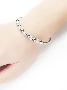 Fashion Little Beads 999 Silver Opening Bangle