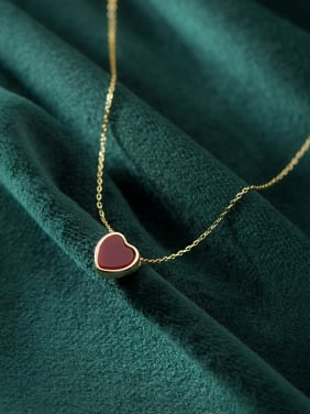 925 Sterling Silver With Gold Plated Simplistic Heart Necklaces