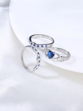 Couples Creative Heart Shaped Three Pieces Ring Set