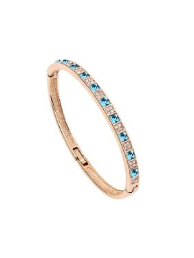 Simple Shiny Swarovski Crystals Alloy Rose Gold Plated Bangle