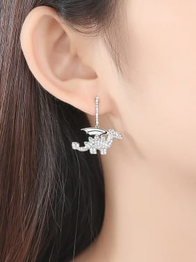 Copper With Platinum Plated Cartoon Dinosaur Cluster Earrings