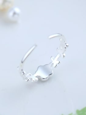 Fashion Flower Shaped Silver Opening Ring