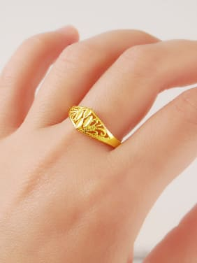 Creative Hollow Geometric Shaped 24K Gold Plated Ring