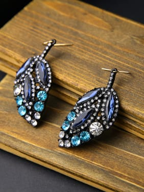 Blue Stones Leaves-shape drop earring