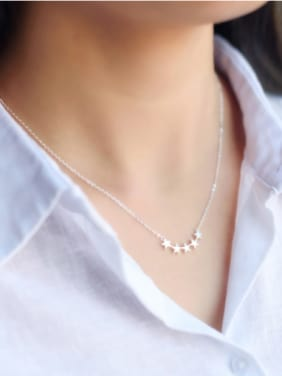 S925 Silver Fashion Five Star Necklace