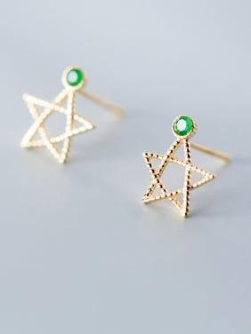 925 Sterling Silver With Platinum Plated Simplistic Star Stud Earrings